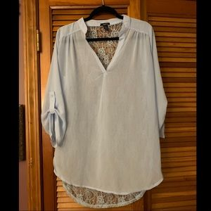Rue21 Light Blue Lace Back Blouse Size Large
